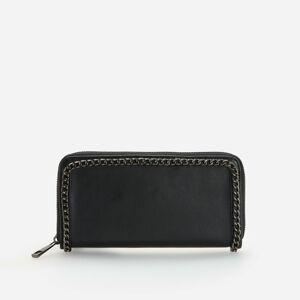 Reserved - Čierna peňaženka s ozdobnou retiazkou - Čierna