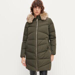 Reserved - Páperová bunda s umelou kožušinou - Khaki