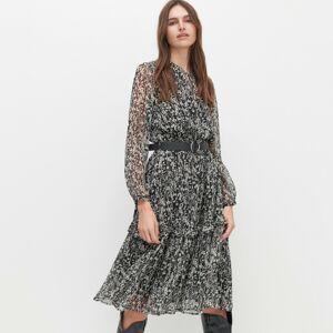 Reserved - Vzorované šaty s opaskom - Čierna