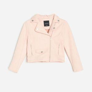 Reserved - Motorkárska bunda z umelého semišu - Ružová