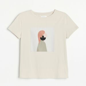 Reserved - Bavlnené tričko s lodičkovým výstrihom - Béžová