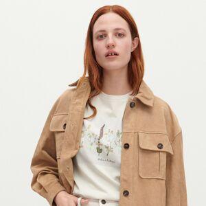 Reserved - Bavlnené tričko s kvetinovou potlačou - Béžová