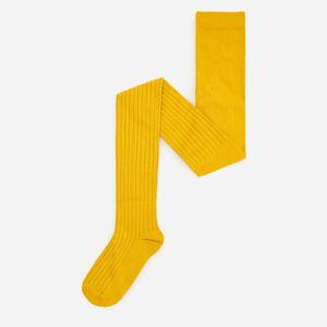 Reserved - Pančuchy z prúžkovaného úpletu z organickej bavlny - Žltá