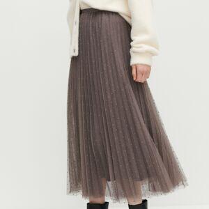 Reserved - Bodkovaná plisovaná sukňa - Béžová