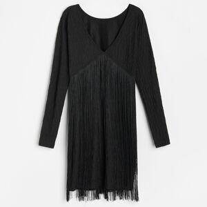 Reserved - Šaty so strapcami - Čierna