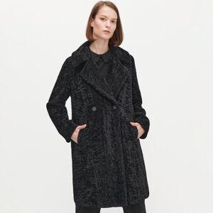 Reserved - Zamatový kabát - Čierna