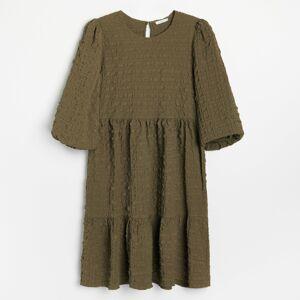 Reserved - Šaty zo štruktúrovanej látky - Khaki