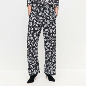 Reserved - Kvetované nohavice - Čierna