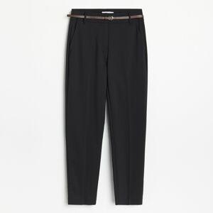 Reserved - Nohavice cigaretového strihu s opaskom - Čierna