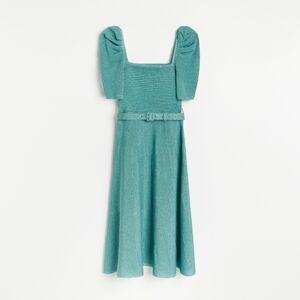 Reserved - Šaty z lesklého úpletu - Tyrkysová
