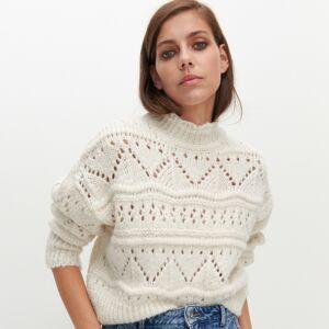 Reserved - Perforovaný sveter - Krémová
