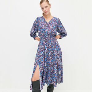 Reserved - Viskózové šaty s kvetinovou potlačou - Viacfarebná