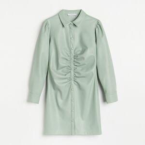 Reserved - Košeľové šaty z umelej kože - Zelená