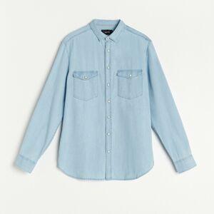 Reserved - Denimová košeľa z organickej bavlny - Modrá