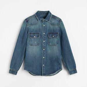 Reserved - Vyšúchaná džínsová košeľa - Modrá