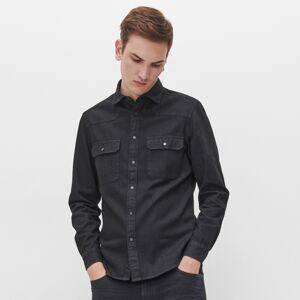 Reserved - džínsová košeľa regular fit - Čierna