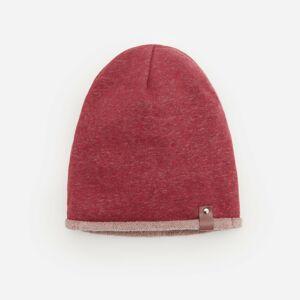 Reserved - Melanžová čiapka beanie z teplákového úpletu - Bordový
