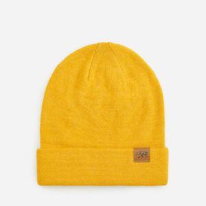 Reserved - Žltá čiapka beanie s ozdobnou nášivkou - Žltá
