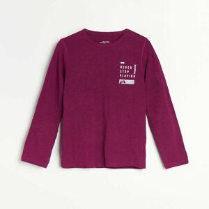 Reserved - Melanžové tričko s dlhými rukávmi a nápisom - Purpurová