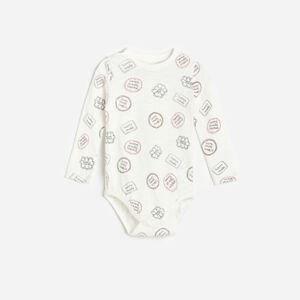 Reserved - Vzorované bavlnené body - Krémová