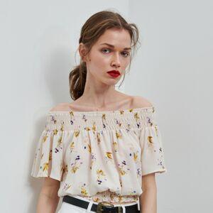 Reserved - Kvetovaná blúzka španielka - Krémová