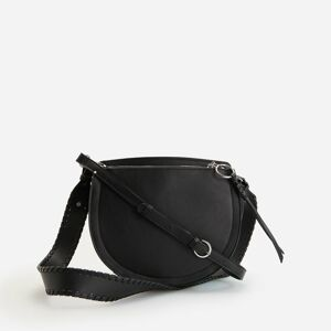 Reserved - Kabelka v štýle saddle bag s odnímateľným remienkom - Čierna