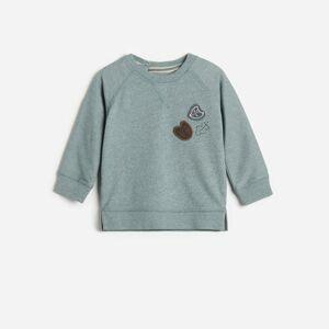 Reserved - Bavlnené tričko s nášivkami - Tyrkysová