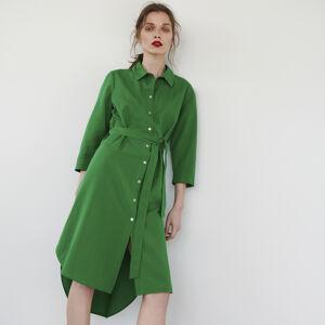 Reserved - Košeľové šaty s opaskom - Zelená