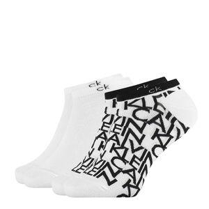 CALVIN KLEIN - 2PACK repeat logo white členkové ponožky-39-42