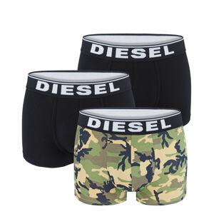 DIESEL - 3PACK cotton stretch army green & black camo boxerky - limitovaná edícia-L (84-89 cm)