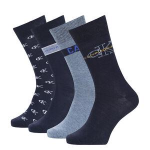 CALVIN KLEIN - 4PACK CK jeans logo dark blue combo pánske ponožky v darčekovom balení-UNI