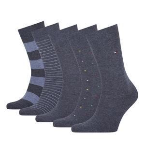 TOMMY HILFIGER - 5PACK TH men stripes & dots jeans pánske ponožky v darčekovom balení-43-46
