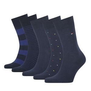 TOMMY HILFIGER - 5PACK TH men stripes & dots navy pánske ponožky v darčekovom balení-43-46