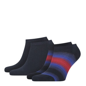 TOMMY HILFIGER - 2PACK TH little stripes navy&red pánske členkové ponožky-39-42